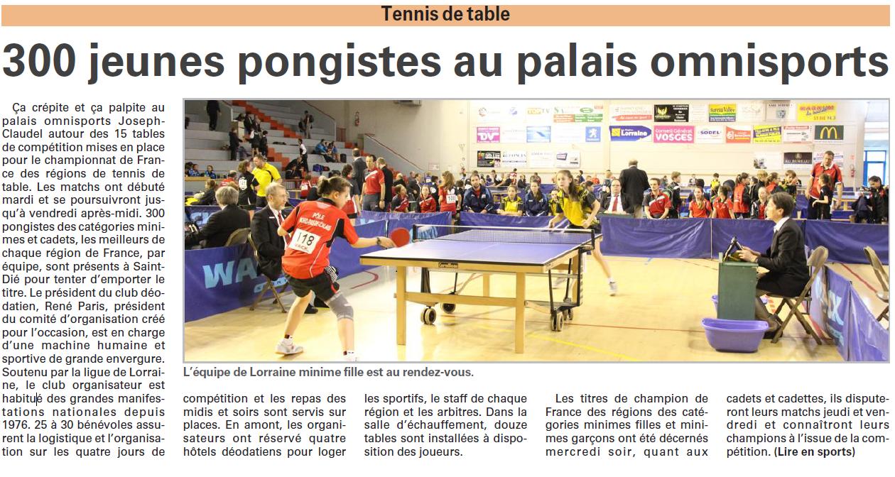 Le championnat de france des r gions sur vosges matin s - Championnat de france tennis de table ...